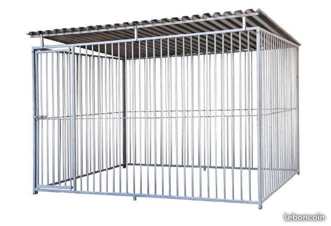 chenil chien grillage galvanise pour enclos garde de chiens. Black Bedroom Furniture Sets. Home Design Ideas